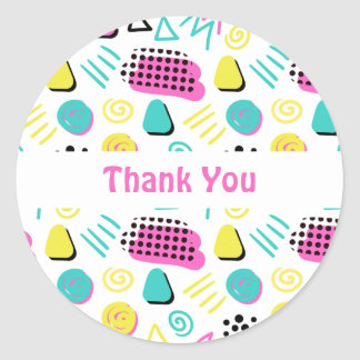 Upbeat Abstract in Turquoise Pink Yellow Classic Round Sticker