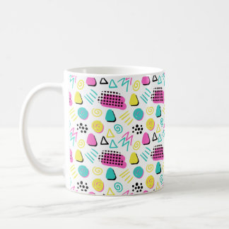 Upbeat Abstract in Turquoise Pink Yellow Coffee Mug