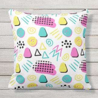 Upbeat Abstract in Turquoise Pink Yellow Outdoor Pillow