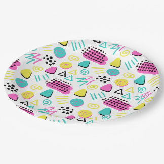 Upbeat Abstract in Turquoise Pink Yellow Paper Plate