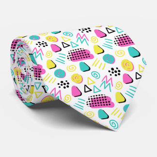 Upbeat Abstract in Turquoise Pink Yellow Tie