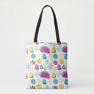 Upbeat Abstract in Turquoise Pink Yellow Tote Bag