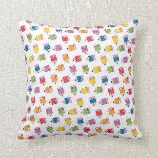 Upcycle Style Rainbow Mini Pencils Pattern Throw Pillow
