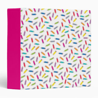 Upcycle Style Rainbow Pencils Pattern by CTP 3 Ring Binder