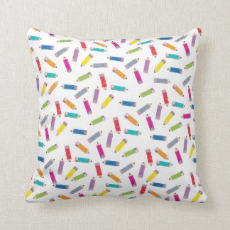 Upcycle Style Rainbow Pencils Pattern by CTP Throw Pillow