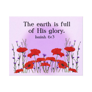 Uplifting Bible Verse with Field of Poppies Canvas Print