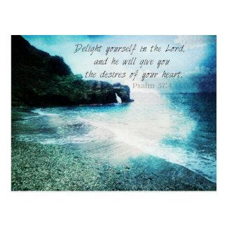 Uplifting Inspirational Bible Verse Psalm 37:4 Postcard
