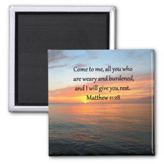 UPLIFTING MATTHEW 11:28 SCRIPTURE VERSE SUNRISE SQUARE MAGNET