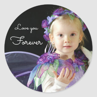 Upload photo add name | love you forever classic round sticker