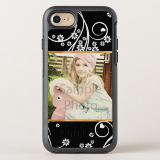 Upload Your Own Photo, Black & White Floral OtterBox Symmetry iPhone 8/7 Case