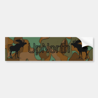 UpNorth Moose Silhouette Camouflage Bumper Sticker