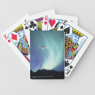 UPO spaceship with northern lights Bicycle Playing Cards