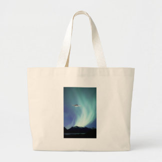 UPO spaceship with northern lights Large Tote Bag