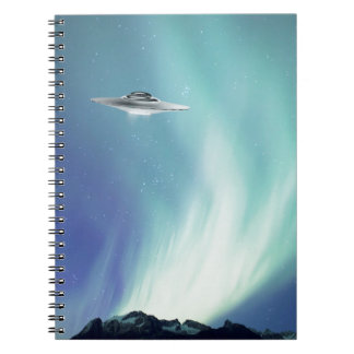 UPO spaceship with northern lights Spiral Notebook