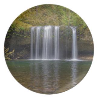 Upper Butte Creek Falls in Fall Season Plate