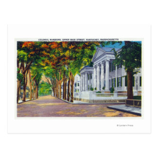 Upper Main Street View of Colonial Mansions Postcard