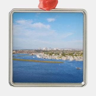 Upper Newport Bay - Back Bay Silver-Colored Square Ornament