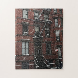 Upper West Side Brownstone Fire Escape NYC Snow Jigsaw Puzzle