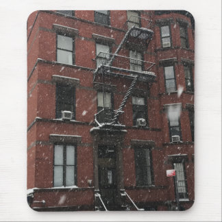 Upper West Side Brownstone Fire Escape NYC Snow Mouse Pad