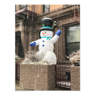 Upper West Side Snowman New York City NYC Snow Photo Print