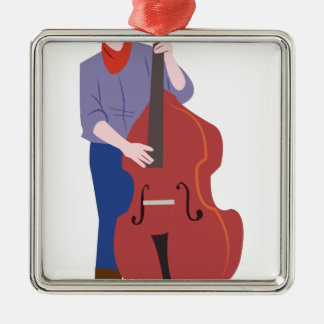 Upright Bass Player Silver-Colored Square Ornament