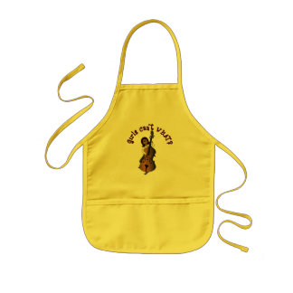 Upright String Double Bass Player Woman Kids' Apron