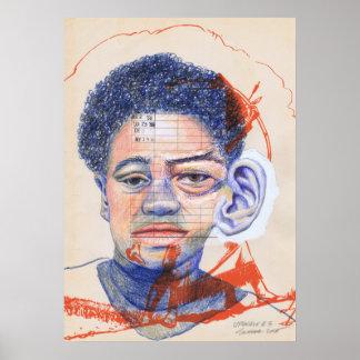 Upscale #3 Colored Pencil Art Surrealism Portrait Poster
