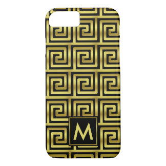 Upscale Black Faux Gold Monogram Greek Key Classy iPhone 7 Case
