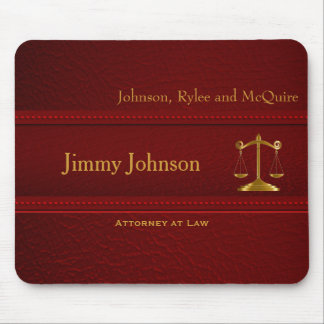 Upscale Deep Red Leather - Lawyer Design Mouse Pad
