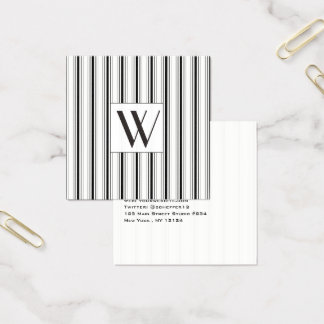 Upscale Minimalist Black White Stripe Monogram Square Business Card