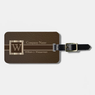Upscale Monogram Chocolate Leather Bag Tag