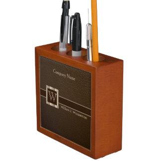 Upscale Monogram Chocolate Leather Desk Organizer