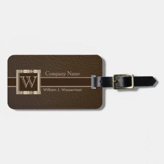 Upscale Monogram Chocolate Leather Luggage Tag