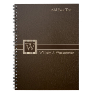 Upscale Monogram Chocolate Leather - Office/School Note Book