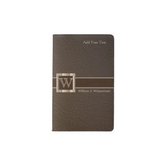 Upscale Monogram Chocolate Leather Pocket Moleskine Notebook