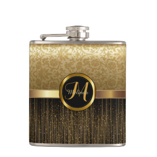 Upscale Monogram Golden Pattern Design Flask