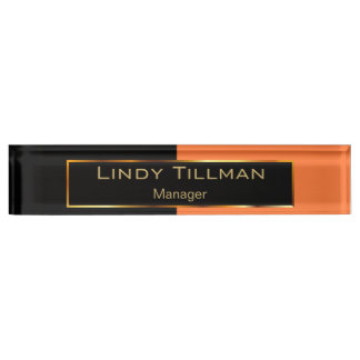 Upscale Orange and Black Nameplate