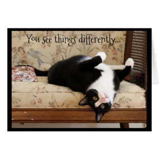 Upside Down Black and White Cat Card