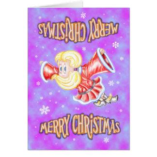 Upside-down Christmas Girl Card