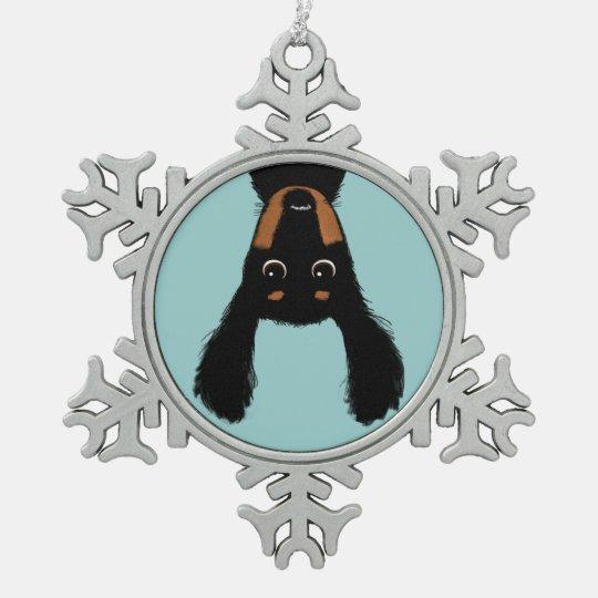 Upside Down Dachshund Christmas Pewter Snowflake Ornament