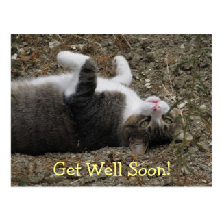 Upside Down Kitty Get Well Postcard