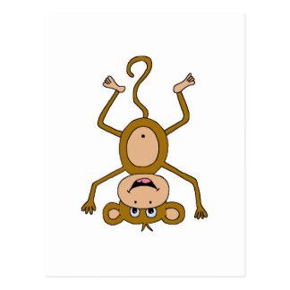 upside down monkey postcard