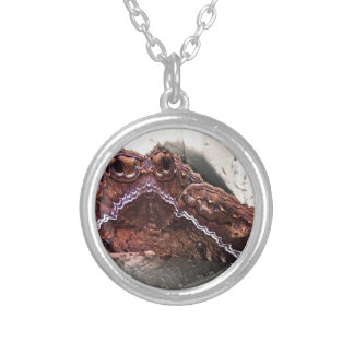 Upside down moth silver plated necklace