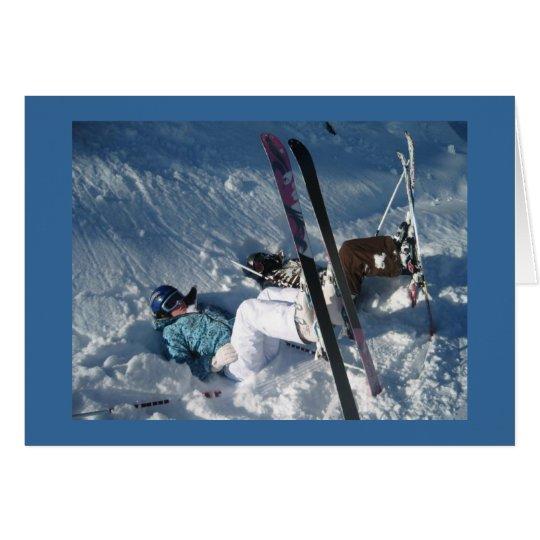 Upside down skiing card