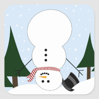 Upside-down Snowman Square Sticker