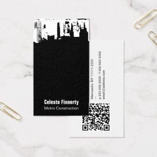 Upside Downtown Midnight Sky w/ QR Code Business Card
