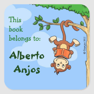 Upside Monkey / funny booklabel for kids Square Sticker