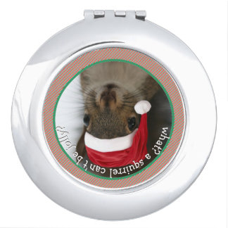 Upside-Squirrel: Santa Squirrel is Coming to Town Compact Mirrors