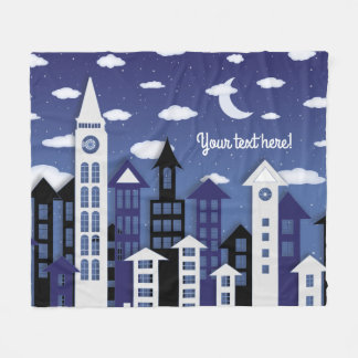 Uptown at Nght Illustrated Panel Fleece Blanket