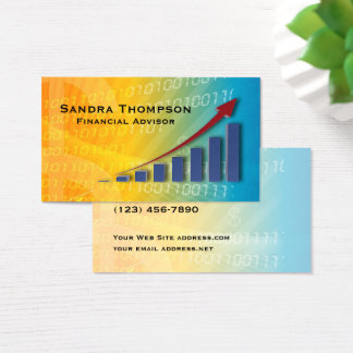 Upward Chart Blue Yellow Financial Advisor Business Card